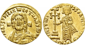 CONSTANTINE VI & IRENE with LEO III, CONSTANTINE V and LEO IV (780-797). GOLD Solidus. Constantinople. Obv: Constantine V, Leo III and Leo IV seated facing on throne, each crowned and wearing chlamys. Rev: Crowned facing busts of Constantine IV, wearing chlamys and holding globus cruciger, and Irene, wearing loros and holding globus cruciger and cruciform scepter; cross above, pellet between them. Sear 1593. Condition: Very fine. Weight: 4.32 g. Diameter: 19 mm.