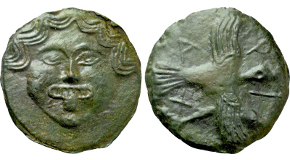 SKYTHIA. Olbia. Cast Ae (Circa 437-410 BC). Obv: Facing gorgoneion.Rev: A - P - I - X.Eagle flying right, with wings spread and dolphin right in talons. SNG BM Black Sea 383; Anokhin 168; HGC 3.2, 1881. Condition: Good very fine. Weight: 112.01 g.Diameter: 68 mm.