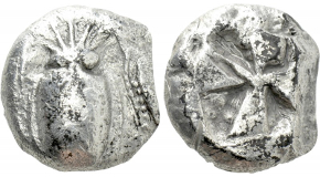 """CYCLADES. Keos. Koresia. Stater (Circa 520-510 BC). Obv: Cuttlefish.Rev: Incuse square of """"Union Jack"""" pattern with eight segments. Sheedy p. 164, 1-3; HGC 6, 569. Very rare Condition: Near very fine. Weight: 9.83 g.Diameter: 16 mm."""