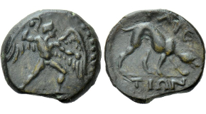 CRETE. Phaistos. Ae (Circa 300-250 BC). Obv: Talos advancing right, hurling stone in his right hand, holding another in his left.Rev: ΦAIC / TIΩN.Hound on the scent to right. SNG Copenhagen 520; BMC 27-8. Condition: Very fine. Weight: 3.97 g.Diameter: 16 mm.