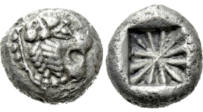 LESBOS. Mytilene. EL Hekte (Circa 521-478 BC). Obv: Head of roaring lion right. Rev: Incuse head of calf right; rectangular punch to left. Bodenstedt 13; HGC 6, 938. Condition: Near extremely fine. Weight: 2.56 g. Diameter: 9 mm.