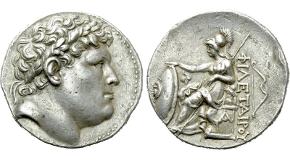 KINGS OF PERGAMON. Philetairos (282-263 BC). Tetradrachm. Pergamon. Obv: Laureate head right.Rev: ΦΙΛΕΤΑΙΡΟY.Athena seated left on throne, resting elbow upon small sphinx right and placing hand upon shield to left. Controls: A on throne, bow to outer right. SNG BN 1606-9 (Eumenes I). Condition: Good very fine. Weight: 17.10 g.Diameter: 29 mm.