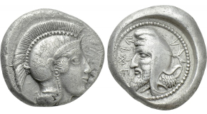 DYNASTS OF LYCIA. Kherẽi (Circa 430-410 BC). Stater. Xanthos. Obv: Helmeted head of Athena right.Rev: Head of Kherẽi left, wearing kyrbasia; retrograde legend around; all within incuse circle. Cf. Müseler VI,39-40 (types reversed, incuse square). Rare Condition: Good very fine. Weight: 8.52 g.Diameter: 18 mm.