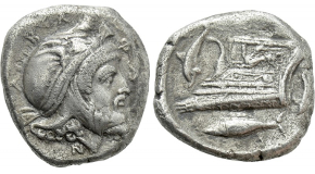 MYSIA. Kyzikos. EL Stater (Circa 450-330 BC). Obv: Half-length figure of Athena half-left, head left, wearing Attic helmet, holding aphlaston in raised right hand; below, tunny left. Rev: Quadriartite incuse square. Von Fritze I 152. Condition: Very fine. Weight: 16.00 g. Diameter: 18 mm.
