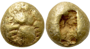 IONIA. Ephesos. Phanes (Circa 625-600 BC). EL Hemihekte. Obv: Forepart of stag right, head left. Rev: Incuse square punch with irregular cross-hatching. Weidauer 36-7; Head p. 15, 5 = Traité pl. II, 20; Boston MFA 1816 = Warren 1731; CNG E-362, lot 137 (which realized a hammer of $1,800). Condition: Very fine. Weight: 1.2 g. Diameter: 7 mm.