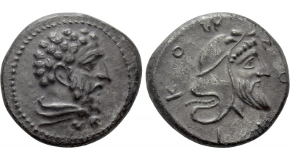 CILICIA. Mallos. Stater (Circa 385-375 BC). Obv: Athena seated left, holding spear and resting elbow upon shield at side; olive tree to right.Rev: ΜΑΛ.Hermes standing facing, holding kerykeion; to right, Aphrodite left, leaning upon column to right and placing hand upon Hermes. SNG BN 403-4; SNG Levante 155. Condition: Near extremely fine. Weight: 10.57 g.Diameter: 22 mm.