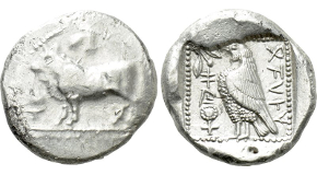 DYNASTS OF LYCIA. Uncertain dynast (Circa 500 BC). Stater. Uncertain mint. Obv: Head of lion right. Rev: Floral pattern within incuse square. Cf. Müseler I,1-2 (design of incuse pattern); cf. SNG von Aulock 4041 (same). Rare. Condition: Very fine. Weight: 9.05 g. Diameter: 18 mm.