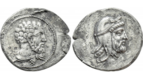 LESBOS. Mytilene. EL Hekte (Circa 454-428/7 BC). Obv: Bearded head of Priapos right, wearing tainia. Rev: Head of female (nymph Chione or Dione?) right, with hair in sphendone; all within incuse square. Bodenstedt 43; HGC 6, 969. Condition: Good very fine. Weight: 2.59 g. Diameter: 10 mm.