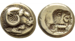 KINGS OF LYDIA. Kroisos (Circa 564/53-550/39 BC). GOLD 1/24 Stater. Sardes. Obv: Confronted foreparts of lion and bull. Rev: Incuse square punch. Berk 15; Traité I -; SNG Kayhan I -; CNG 108,lot 227. Very rare Condition: Good very fine. Weight: 0.3 g. Diameter: 4 mm.