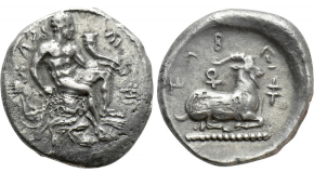 MYSIA. Pergamum. Septimius Severus with Julia Domna (193-211). Ae Medallion. Claudianus Terpander, strategos.  Obv: AVT KAI Λ CЄΠ CЄOVHPOC ΠЄP / IOV ΔOMNA CЄBACTH. Laureate, draped and cuirassed bust of Septimius Severus and draped bust of Julia Domna facing one another; c/m: laureate head of Caracalla right within incuse circle.Rev: ЄΠI CTPA KΛAVΔIANOV TЄPΠANΔPOV / ΠЄPΓAMHNΩN B NЄOKOPΩN.Ariadne reclining left in the grotto of Naxos, in gesture of sleep, being discovered by maenad, holding thyrsus and crown, and satyr, holding lagobolon. SNG BN 2210; Triton XIX, lot 358 (which realized a hammer of $7,000) = Gemini II, lot 495. For c/m: Howgego 70. Condition: Very fine. Weight: 38.67 g. Diameter: 44 mm.