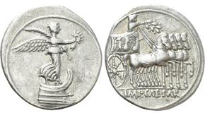 NERO (54-68). Denarius. Rome. Obv: NERO CAESAR AVGVSTVS. Laureate head right. Rev: IVPPITER CVSTOS. Jupiter seated left on throne, holding thunderbolt and sceptre. RIC² 53. Condition: Very fine. Weight: 3.30 g. Diameter: 18 mm.