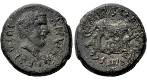 LYDIA. Magnesia ad Sipylum. Caracalla (198-217). Ae. M. Aur. Gaius, strategos. Obv: AVT K M AVP C ANTΩNЄINOC. Laureate, draped and cuirassed bust right. Rev: ЄΠI CTP M AVP ΓAIOV / MAΓNHTΩN CIΠVΛOV. Caracalla, preparing to hurl spear, on horse rearing right; two bound captives to lower right. Cf. Weber 6845. Extremely rare Condition: Good very fine, some corrosion. Weight: 21.70 g. Diameter: 37 mm.