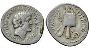 MARK ANTONY. Denarius (37 BC). Antioch or military mint traveling with Canidius Crassus in Armenia. Obv: ANTONIVS AVGVR COS DES ITER ET TERT.Bare head right.Rev: IMP TERTIO III VIR R P C.Armenian tiara right; all over crossed bow and arrow. Crawford 539/1; CRI 297. Condition: Fine; attractive toning. Weight: 3.48 g.Diameter: 21 mm.