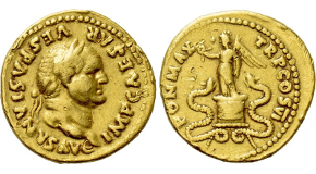 CONSTANTIUS I (305-306). GOLD Aureus. Ticinum.  Obv: CONSTANTIVS P F AVG. Laureate head right. Rev: FELICITAS AVGG NOSTR / SMT. Felicitas seated left on throne, holding caduceus and cornucopia. RIC 51A; Calicó 4823. Ex Numismatik Naumann 45 (3 July 2016), lot 875. Condition: Good very fine, hole expertly filled and restored, various field marks smoothed and repaired. Weight: 5.07 g. Diameter: 25 mm.