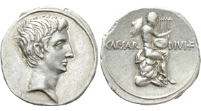 SEXTUS POMPEIUS MAGNUS PIUS. Denarius (37/6 BC). Uncertain Sicilian mint. Obv: MAG PIVS IMP ITER.  Bare head right; jug to left, lituus to right. Rev: PRAEF / CLAS ET ORAE / MARIT EX S C. Neptune standing left, foot set on prow, holding aplustre; Catanean brothers to left and right, each bearing one of their parents on their shoulders. Crawford 511/3a; CRI 334. Highly expressive and impressive portrait. Condition: Good very fine. Weight: 3.9 g. Diameter: 18 mm.