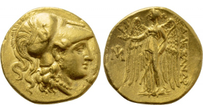 KINGS OF MACEDON. Philip II (359-336 BC). GOLD Stater. Pella. Obv: Laureate head of Apollo right. Rev: ΦΙΛΙΠΠΟΥ. Charioteer driving biga right. Control: Thunderbolt below. SNG ANS 165-71; HGC 3.1, 847. Condition: Near extremely fine. Weight: 8.57 g. Diameter: 18 mm.