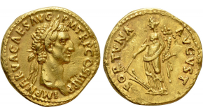 MAXIMIANUS HERCULIUS (First reign, 286-305). GOLD Aureus. Cyzicus. Obv: MAXIMIANVS AVGVSTVS. Laureate head right. Rev: P M TR P P P. Maximianus standing left, holding spear and raising hand; two signa to left and to right. RIC 600; Depeyrot 12/2. Rare Condition: Fine. Weight: 5.00 g. Diameter: 18 mm.
