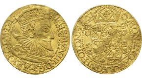 THEODOSIUS III of ADRAMYTIUM (715-717). GOLD Solidus. Constantinople. Obv: ∂ Ч TҺЄO∂OSIЧS MЧL A. Crowned facing bust, holding akakia and globus surmounted by patriarchal cross. Rev: VICTORIA AVςЧ Δ / CONOB. Cross potent set upon three steps.  Sear 1487; Goldberg 53, lot 2198 (same dies; realized a hammer of $7,000). Very rare Condition: Extremely fine. Weight: 4.45 g. Diameter: 20 mm.