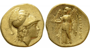 KINGS OF MACEDON. Philip V (221-179 BC). Tetradrachm. Uncertain mint, possibly Pella. Obv: Head of Perseus left, wearing winged helmet surmounted by griffin's head; harpa in  background; all in the center of Macedonian shield. Rev: ΒΑΣΙΛΕΩΣ / ΦΙΛΙΠΠΟΥ. Club right between legend in two lines; all within wreath right. SNG Alpha Bank 1051; HGC 3.1, 1056. Condition: Extremely fine. Weight: 16.84 g. Diameter: 28 mm.