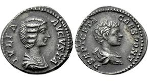 JULIA DOMNA with GETA (Augusta, 193-217). Denarius. Rome. Obv: IVLIA AVGVSTA.Draped bust of Julia Domna right.Rev: P SEPT GETA CAES PONT.Bareheaded and draped bust of Geta right. RIC 571 (Septimius). Ex Tareq Hani Collection Condition: Good very fine. Weight: 2.92 g.Diameter: 17 mm.