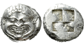 MACEDON. Neapolis. Stater (Circa 500-480 BC). Obv: Facing gorgoneion with protruding tongue.Rev: Quadripartite incuse square. AMNG III/2, 6; HGC 3.1, 583. Condition: Near extremely fine. Weight: 9.82 g.Diameter: 19 mm.