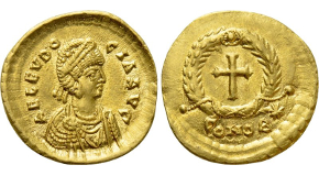 ZENO (Second reign, 476-491). GOLD Solidus. Constantinople. Obv: D N ZENO PERP AVG. Helmeted and cuirassed bust facing slightly right, holding spear and shield decorated with horseman motif; diadem without jewel. Rev: VICTORIA AVGGT Δ / CONOB. Victory standing left, holding jeweled cross; star to right. RIC 911 & 930 var. (rev. legend); Depeyrot 108/1 var. (same). The final G in the reverse legend appears to have been engraved as a T. Condition: Near Mint State, lustrous. Weight: 4.5 g. Diameter: 21 mm.
