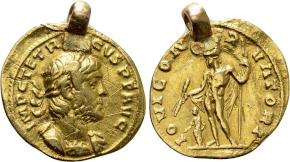 JUSTIN & JUSTINIAN (527). GOLD Solidus. Constantinople. Obv: D N IVSTIN ЄT IVSTINIAN P P AV / CONOB.Justin and Justinian, each holding globus, seated facing on throne with straight back and crossbar; cross above.Rev: VICTORIA AVGGG Γ / CONOB.Angel standing facing, holding long cross and globus cruciger; star to right. Sear 118. Condition: Near extremely fine, lustrous. Weight: 4.45 g.