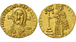 JUSTINIAN II (First reign, 685-695). GOLD Solidus. Constantinople. Obv: IҺS CRISTOS RЄX RЄGNANTIUM.Facing bust of Christ Pantokrator.Rev: D IЧSTINIANЧS SЄRЧ CҺRIST H / CONOB.Justinian standing facing, holding akakia and cross potent set upon three steps. Sear 1248. Condition: Good very fine. Weight: 4.45 g.Diameter: 19 mm.