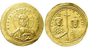 BASIL II BULGAROKTONOS with CONSTANTINE VIII (976-1025). GOLD Histamenon Nomisma. Constantinople. Obv: + IҺS XIS RЄX RЄGNANTIЧM.Facing bust of Christ Pantokrator.Rev: + ЬASIL C COҺSTAҺTI Ь R.Crowned facing busts of Basil and Constantine, holding between them a long cross. Sear 1800; Fueg 6.B. Condition: Near extremely fine. Weight: 4.42 g.Diameter: 25 mm.