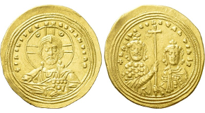 BASIL II BULGAROKTONOS with CONSTANTINE VIII (976-1025). GOLD Histamenon Nomisma. Constantinople. Obv: + IҺS XIS RЄX RЄGNANTIЧM.Facing bust of Christ Pantokrator.Rev: + ЬASIL C COҺSTAҺTIҺ Ь R.Crowned facing busts of Basil and Constantine, holding between them a long cross. Sear 1800; Fueg 6.E. Condition: Very fine. Weight: 4.38 g.Diameter: 26 mm.
