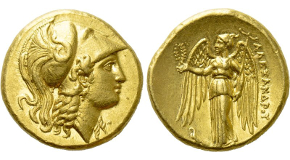 KINGS OF MACEDON. Alexander III 'the Great' (336-323 BC). GOLD Stater. Uncertain mint in western Asia Minor. Obv: Helmeted head of Athena right.Rev: AΛΕΞΑΝΔΡΟΥ.Nike standing left, holding wreath and stylis. Control: To left, eagle standing left. Price 3125. Condition: Extremely fine. Weight: 8.56 g.Diameter: 19 mm.