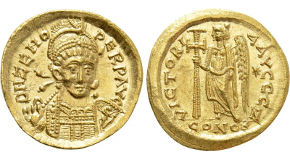 PHILIPPICUS (BARDANES) (711-713). GOLD Solidus. Constantinople. Obv: δ N FILЄPICЧS MЧLTЧS AN.Crowned facing bust, holding globus cruciger and eagle-tipped sceptre.Rev: VICTORIA AVGЧS / CONOB.Cross potent. Sear 1447. Condition: Extremely fine. Weight: 4.44 g.Diameter: 20 mm.