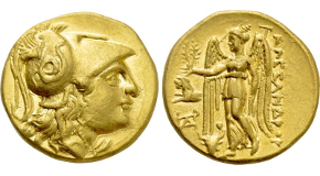 KINGS OF MACEDON. Alexander III 'the Great' (336-323 BC). GOLD Stater. Uncertain mint, possibly Sestos. Obv: Helmeted head of Athena right.